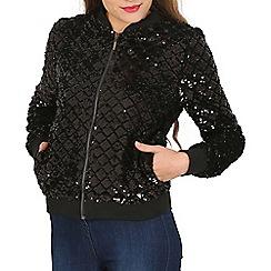 Tenki - Black sequin bomber jacket