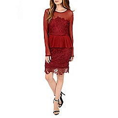Alice & You - Maroon lace overlayer peplum dress