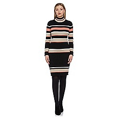 Roman Originals - Black stripe polo knitted dress