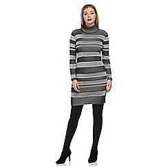 Roman Originals - Grey stripe knitted dress