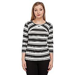 Roman Originals - Black 3/4 sleeve stripe top