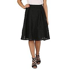 Blue Vanilla - Black bonded lace midi a line skirt