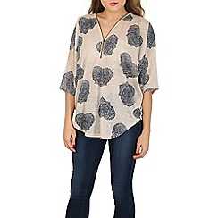 Apricot - Green hearts print zip slub top
