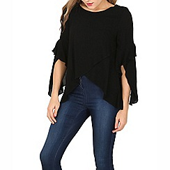 Izabel London - Black round neck long sleeve wrap top