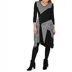 Izabel London - Black contrast material lace up detail dress