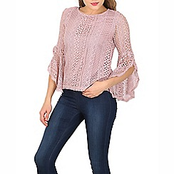 Izabel London - Pale pink long sleeve lace top