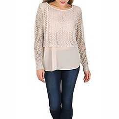 Izabel London - Gold layered mesh detail pullover
