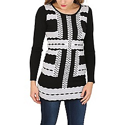 Izabel London - Black long sleeve print knitted pullover