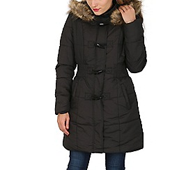 Izabel London - Black padded coat with faux fur trim hood