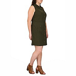 Samya - Khaki button up collar dress