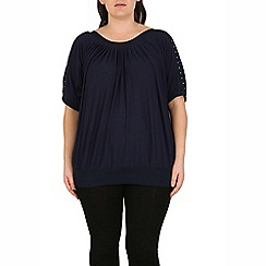 Samya - Navy contrast trim top