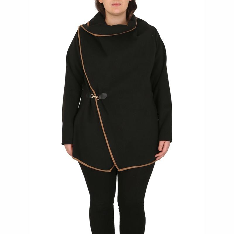 Samya Black Two in One Waterfall Cut Cardigan Coat, Womens
