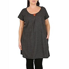 Samya - Dark grey knit top with button neck & pockets