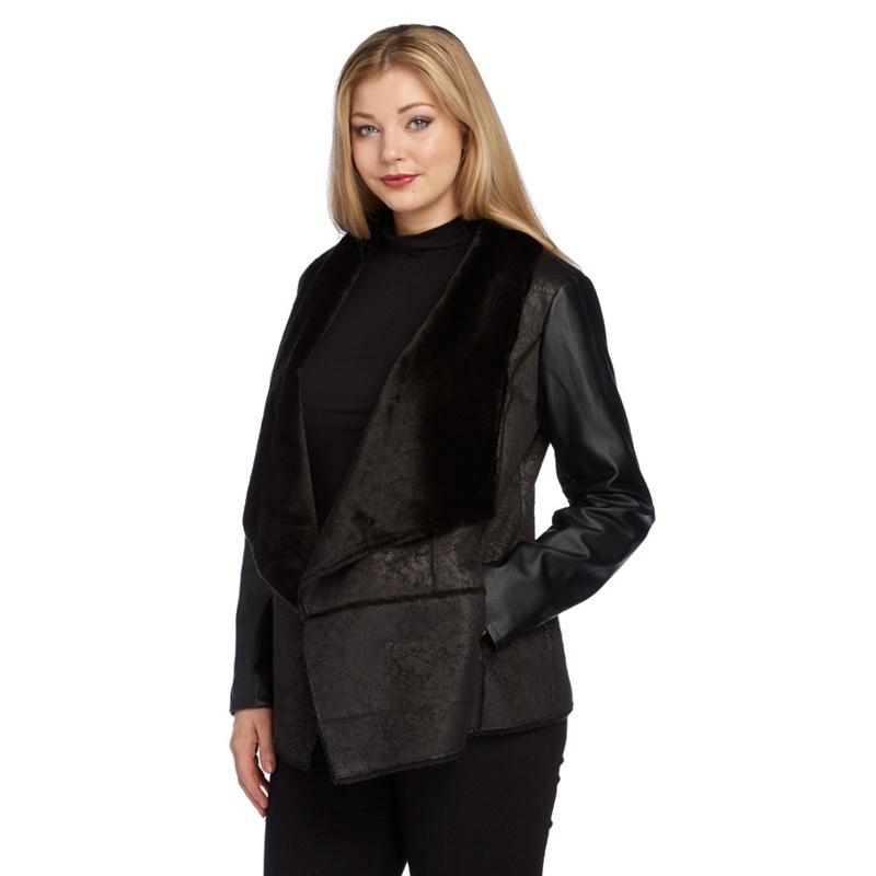 Roman Originals Black Faux Shearling Coat, Womens, Size: