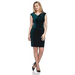 Roman Originals - Green cowl neck velvet dress