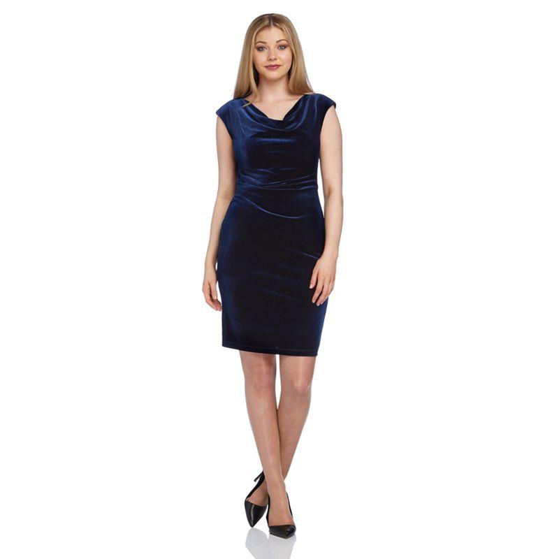 Roman Originals Blue Cowl Neck Velvet Dress, Womens, Party