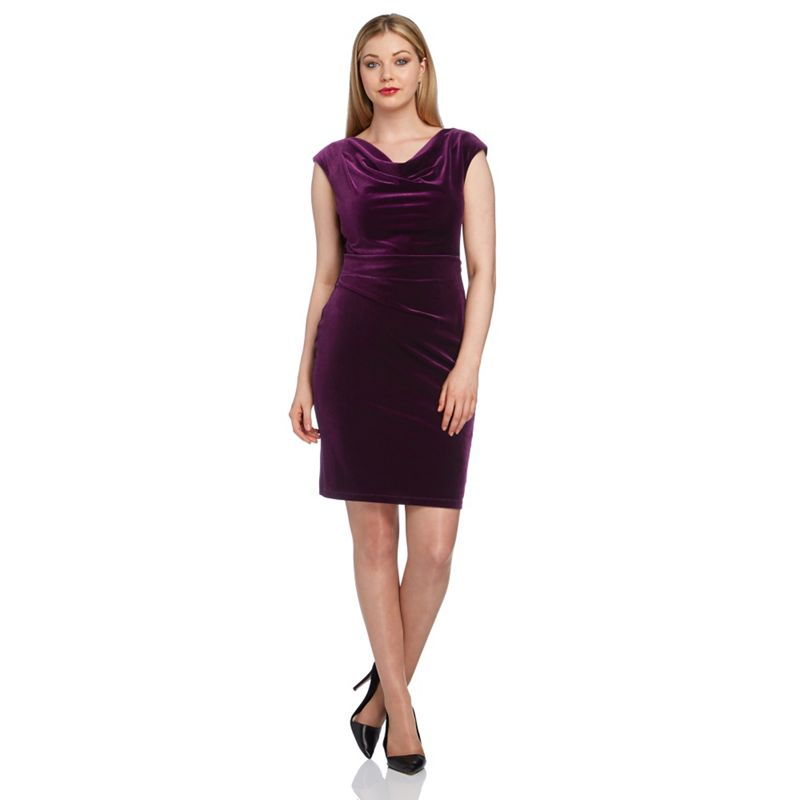 Roman Originals Purple Cowl Neck Velvet Dress, Womens,