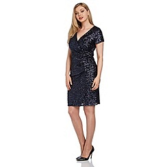 Roman Originals - Navy sequin side drape dress