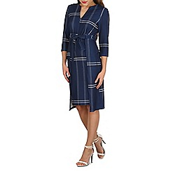 Izabel London - Navy check print tie dress