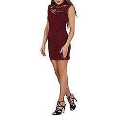 Blue Vanilla - Dark red lace high neck scallop hem dress