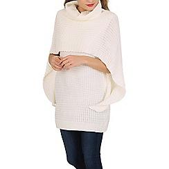 Izabel London - Cream turtle neck cape knitted pullover