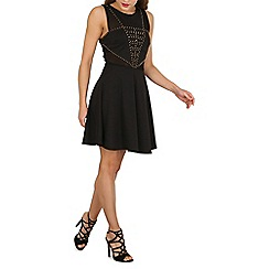Izabel London - Black mesh and stud skater dress