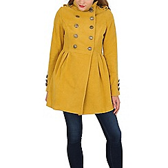 Izabel London - Mustard double breasted military jacket