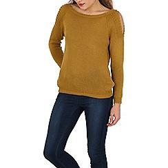 Stella Morgan - Mustard cold shoulder style knitted jumper