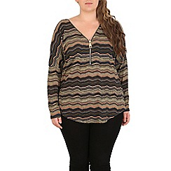Samya - Multicoloured plus size chevron batwing top with zip