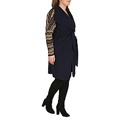 Samya - Navy draped waterfall collar jacket