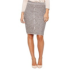 Bellfield - Grey rib & cable knitted pencil skirt
