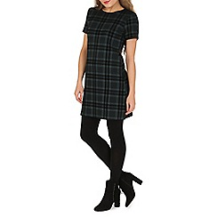 Apricot - Green checked scuba shift dress