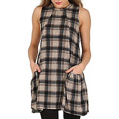 Apricot - Black checked two pockets tunic