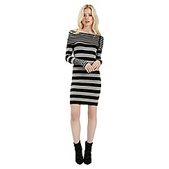 Jane Norman - Grey stripe bardot jumper dress