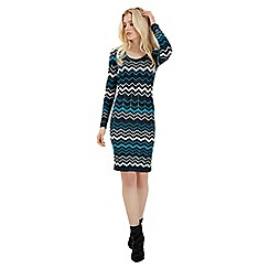 Jane Norman - Blue chevron lurex jumper dress