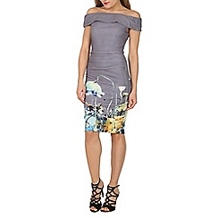 Jolie Moi - Grey printed bardot neck bodycon dress