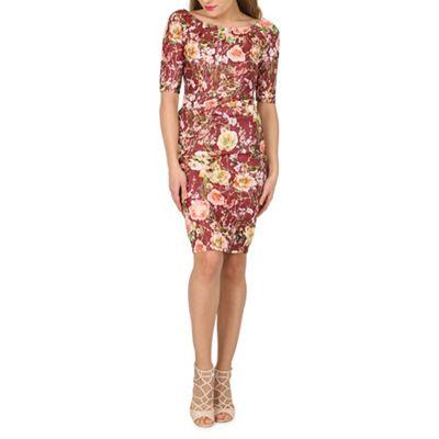 Jolie Moi Maroon lace bonded shift dress - . -
