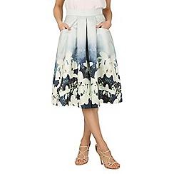 Jolie Moi - Grey floral print pleated a-line skirt