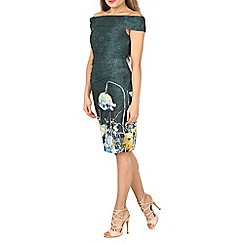 Jolie Moi - Dark green lace bonded bardot neck dress