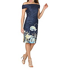 Jolie Moi - Navy lace bonded bardot neck dress