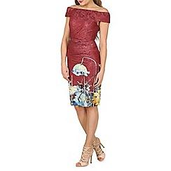 Jolie Moi - Dark red lace bonded bardot neck dress