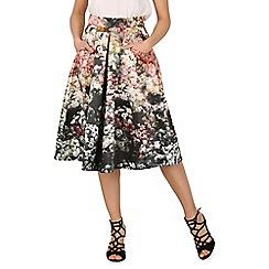 Jolie Moi - Black floral print a-line midi skirt