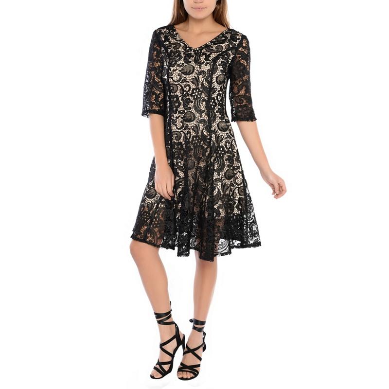 Alice & You Black Lace Skater Dress, Womens, Size: 14,
