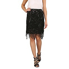 Stella Morgan - Black fringe and sequin skirt