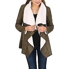 Stella Morgan - Khaki waterfall faux fur jacket