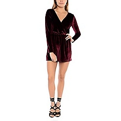 Alice & You - Maroon crossover velvet playsuit