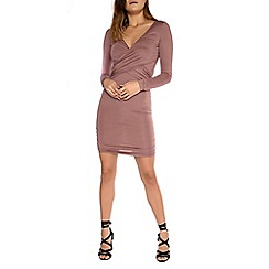 Alice & You - Mauve slinky crossover dress