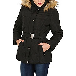 Izabel London - Black padded coat with fur hood