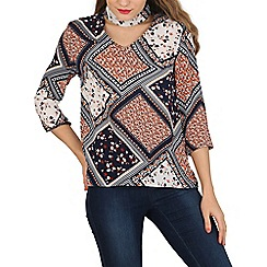Izabel London - Multicoloured choker neck scarf print top