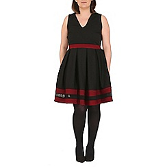 Samya - Black colour block skater dress